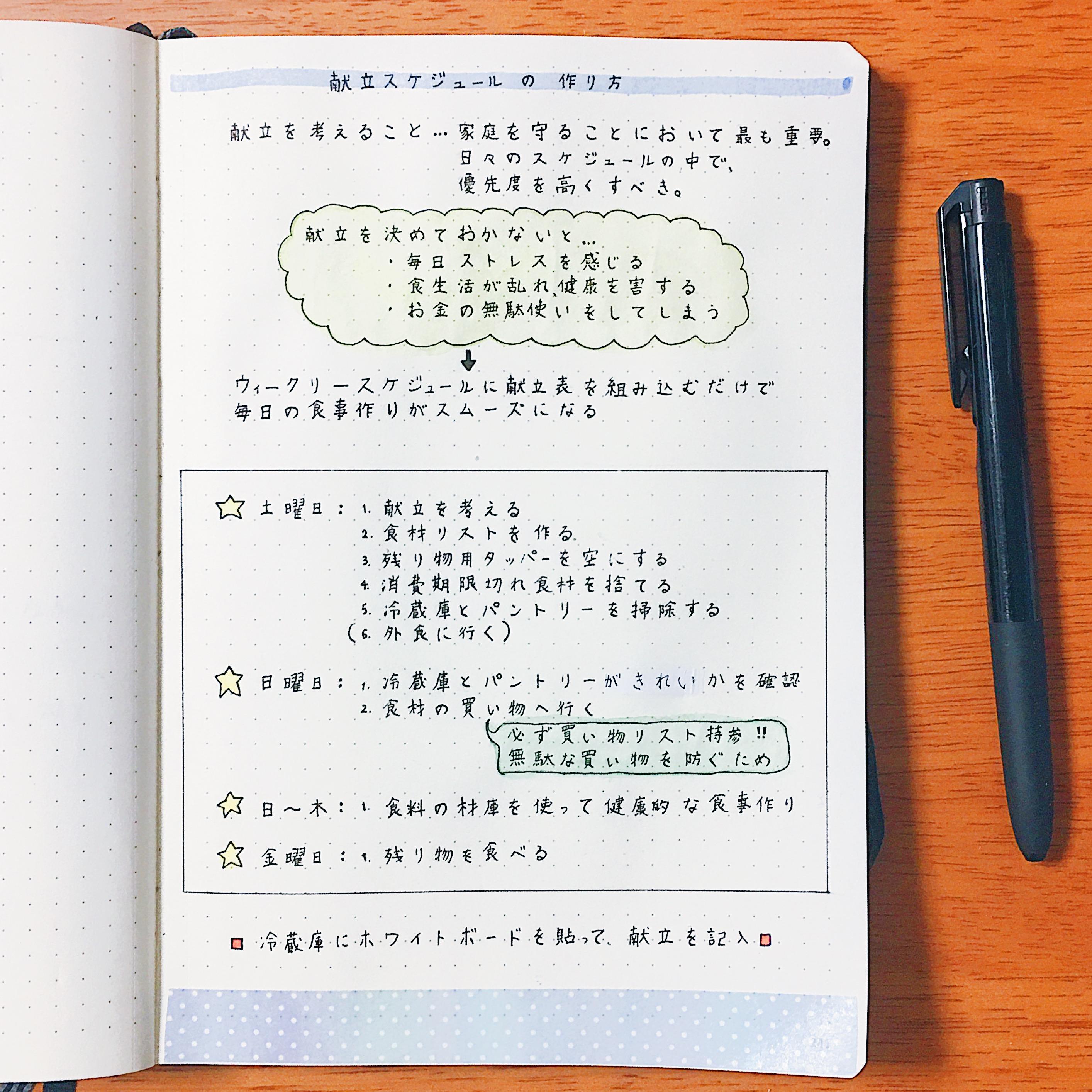 献立スケジュールの作り方 〜ウィークリーページに献立表を組み込もう〜