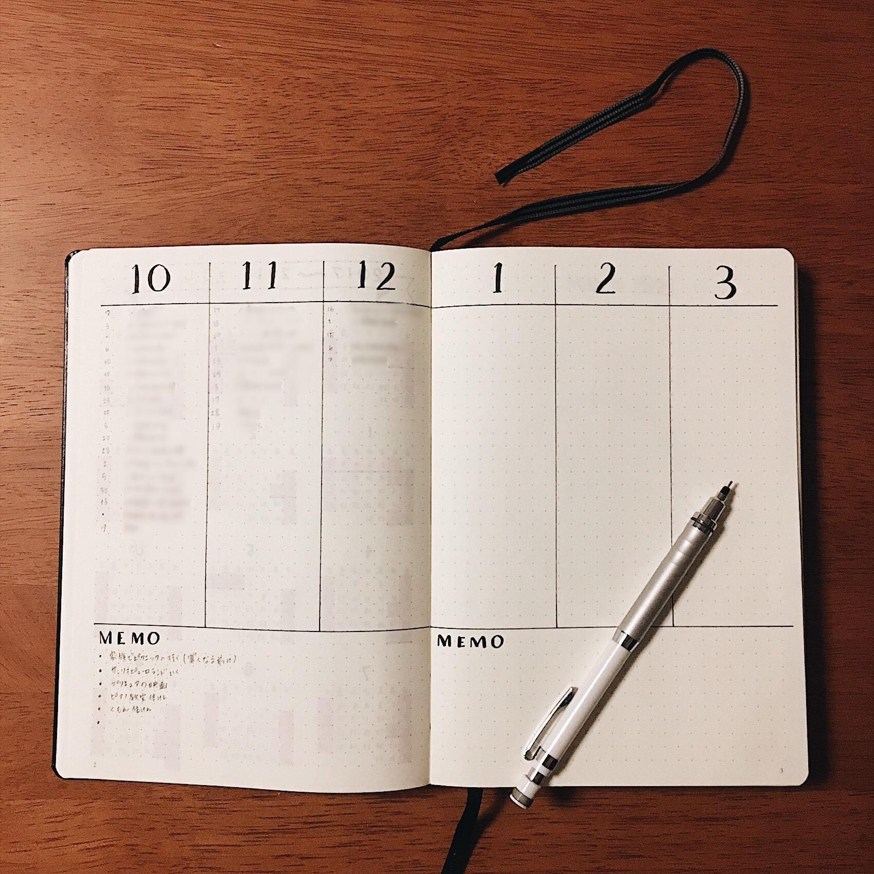 【バレットジャーナル】フューチャーログの作り方&使い方。未来を計画しよう。